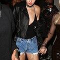 Mulheres Moda Cintura Baixa Nenhum Cintura Bermuda Jeans de Corte