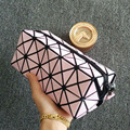 Women Laser Flash Diamond Leather Makeup Bag Ladies Cosmetics Organizer New Trend Fashion Geometric Zipper Cosmetic Bag