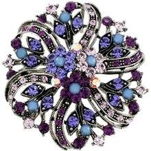 Новый Раунд Винтаж Родием Цветной Фиолетовый Горный Хрусталь Кристалл Свадьба Элегантный Букет Контактный Брошь, пункт №: BH7515