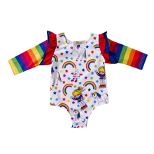 Rainbow Ruffles Sleeve Baby Girl Rompers Cotton Newborn Baby Boys Girls Floral Print Clothes Romper Jumpsuit Playsuit Outfits
