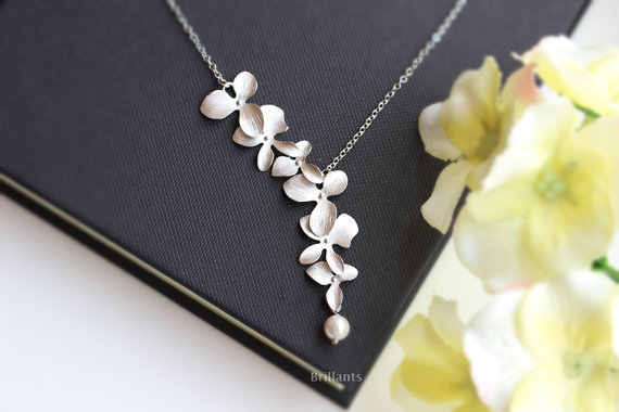 Kinitial Fashion Orchid Flower Pendant Necklace Flower Chain Necklace Charm Jewelry For Women Dress Accessories Gift collares