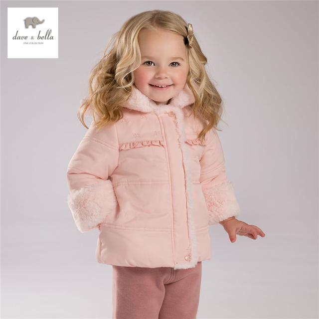DB3979 dave bella bebé niñas lindo oso niños oso con capucha chaqueta acolchada de abrigo rosa rojo gris