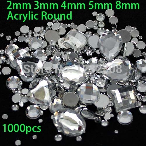 a42a3040a6 Mix Sizes 1000pcs crystal Clear Round Acrylic Loose Flatback Rhinestone  Nail Art Crystal Stones For Wedding Clothing Decorations-in Rhinestones &  ...