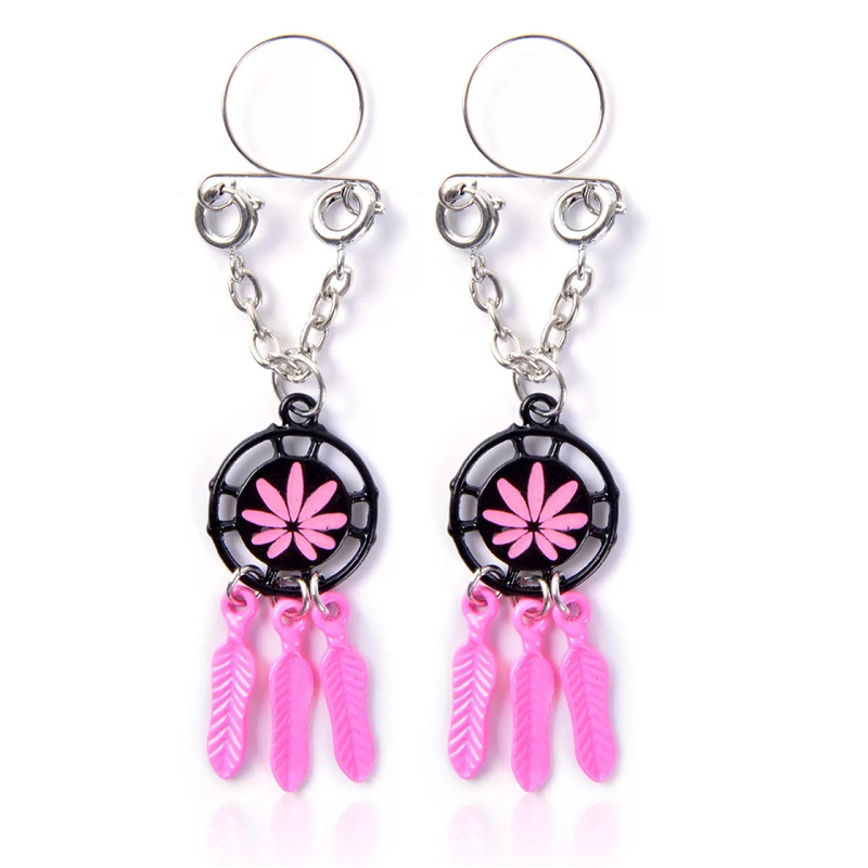 2PCS Pink Leaves Non Pierced Clip On Fake Nipple Ring Sexy Body Jewelry Shield Cover Clamps Adult Sex Toy Piercing Adjustable