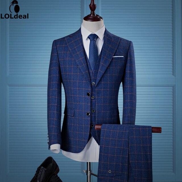 Loldeal Blazer Hose Weste Tweed Plaid Anzug Herren Klassische