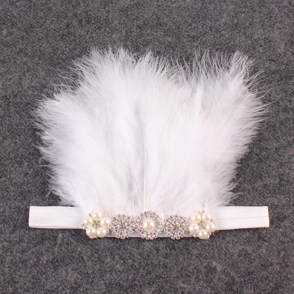 Kids Photo Prop Rhinestone Band Girls Headband Bridal Hair Feather Headbands Hair Accessories Flower Girl Head Piece