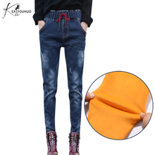 Купить с кэшбэком Elasticity Warm Jeans For Women Drawstring Jeans With High Waist Elastic Waist Jeans Female Pantalon Winter Jeans For Women 2017