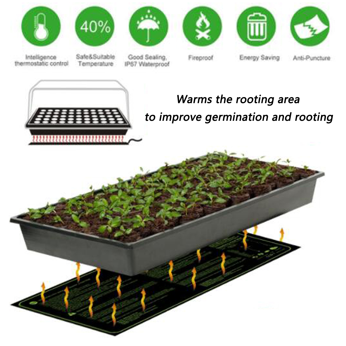 Closeout 515x255cm Home Garden Seedling Heat Mat Waterproof Plant Circuit Board Pu Transparent Potting Pcb Seed Germination Hydroponic Pad