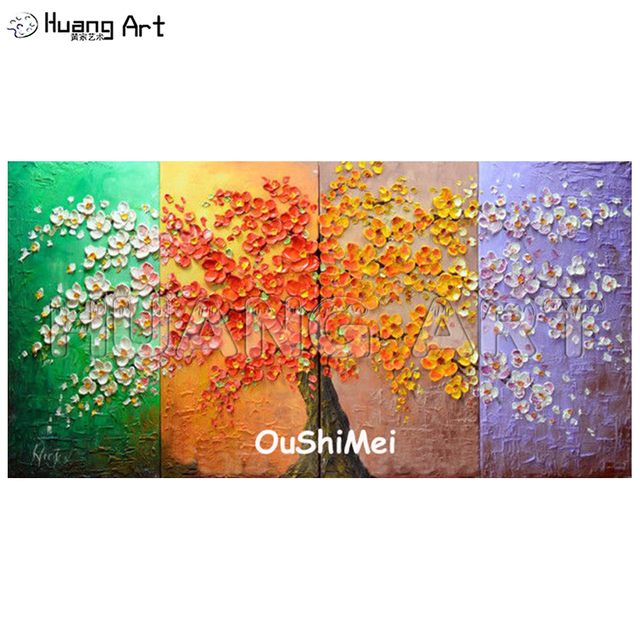 Buy 3d Wall Knife Painting Handmade Colorful Rich Four Seasons Tree