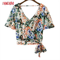 Tangada Women Floral Print Blouses Shirts Sexy Hollow Out V-Neck Bow Tie Short Sleeve Shirt Fashion Summer Blusas Tops XD156