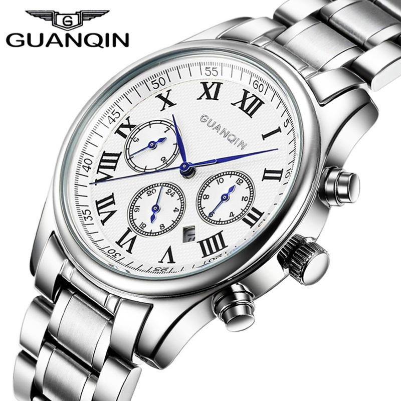 relogio masculino GUANQIN Mens Watches Top Brand Luxury Fashion Business Quartz Watch Men Sapphire Steel Waterproof Wristwatch guanqin fashion mens watches male clock top brand luxury men casual wristwatch relogio masculino business wrist quartz watch new