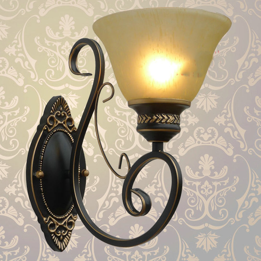 American Rural Cafe Terrace wall lamp Industrial Retro Intdoor Wall Lamps Nostalgic Wrought Iron sconce Balcony corridor Light american vintage wrought ironcandle wall lamp nostalgic semi cirle fashioned loft 2 heads wall lamps free shipping