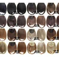 1 pièces court avant soigné frange Clip en Bang frange Extensions de cheveux droite synthétique réel naturel postiche