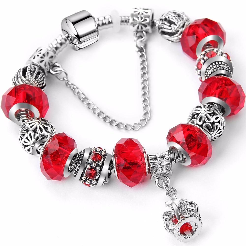 98861994a41d 2018 Nueva Europea Antigua Rosa Rhinestone Charms Pulsera Hecha A Mano en  forma Pandora Pulseras Brazaletes Para Las Mujeres