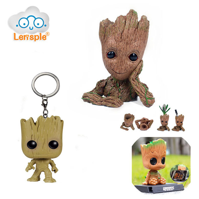 Lensple Guardians of The Galaxy Flowerpot Baby Action Figures Cute Model Toy Pen Pot Best Gifts For Kids Home Decoration 16cm free shipping 6 styles cute kids cheese cat action figures mini cat pvc toys figures model toy best decoration for children