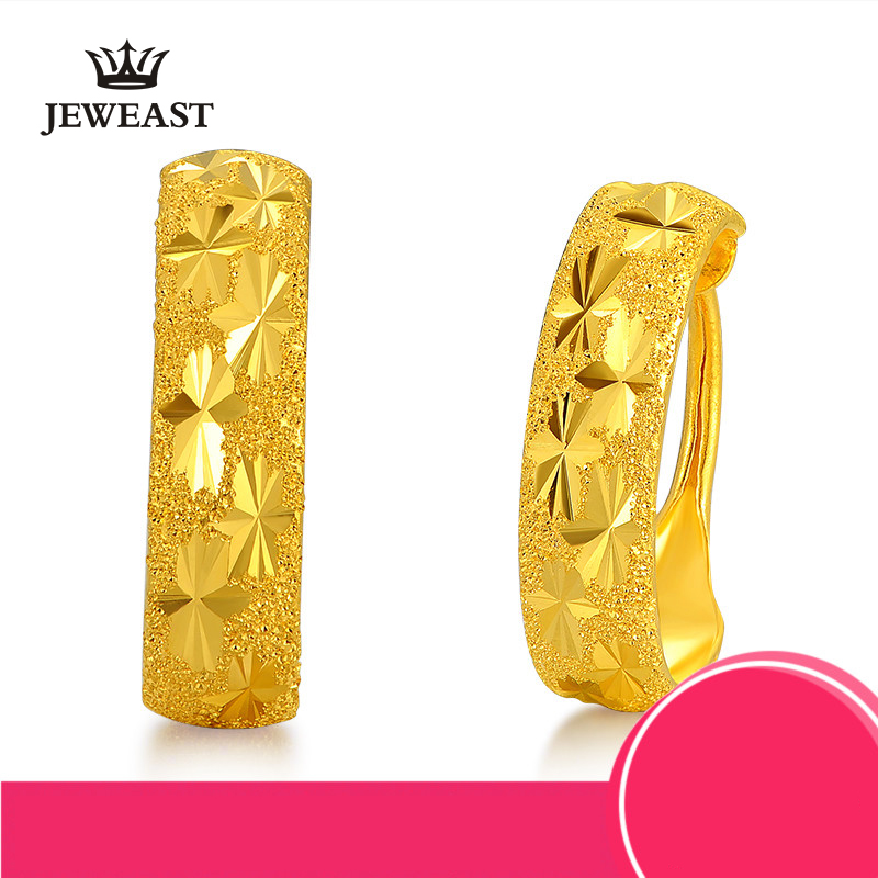 24K Pure Gold Earring Real AU 999 Solid Gold Earrings Beautiful Gypsophila Upscale Trendy Classic Fine Jewelry Hot Sell New 2018