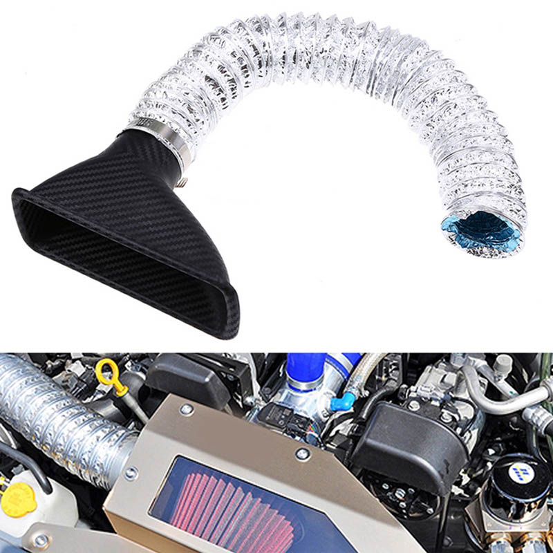 black Acouto 3 Inch Universal Car Automobile Racing Cold Air Intake Filter Aluminum Induction Hose Pipe System Kit
