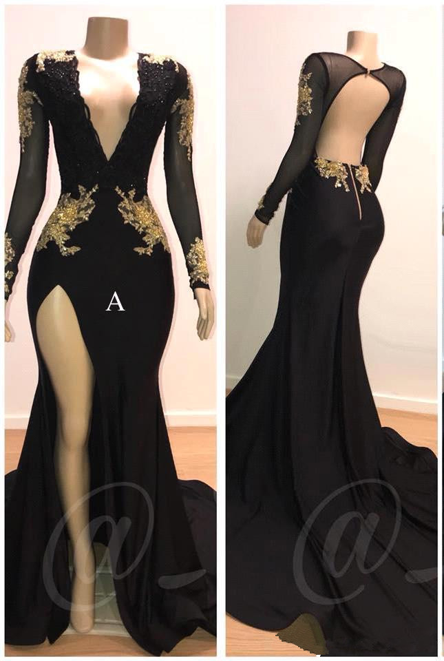 Black Robe De Soiree 2019 Mermaid V-neck Long Sleeves Lace Beaded Backless Sexy Long   Prom     Dresses     Prom   Gown Evening   Dresses