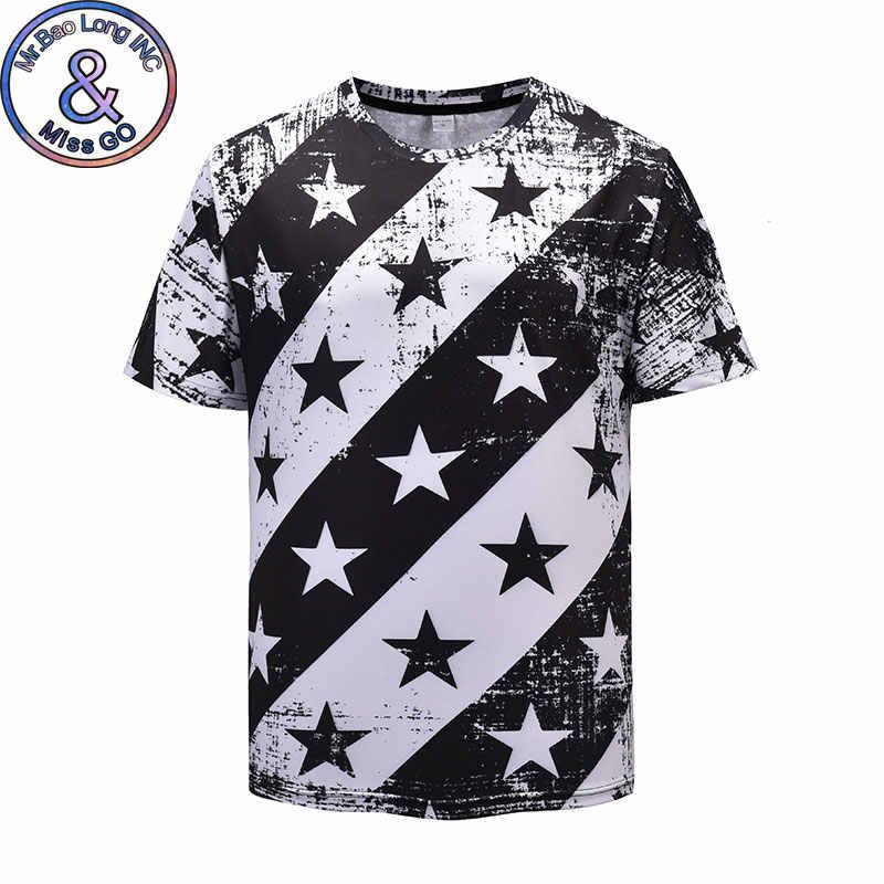 Винтаж принт Для мужчин футболка 2018 Модная Звезда Полосатая футболка Homme Harajuku Хип-Хоп Уличная футболка для Для мужчин Camisetas Hombre
