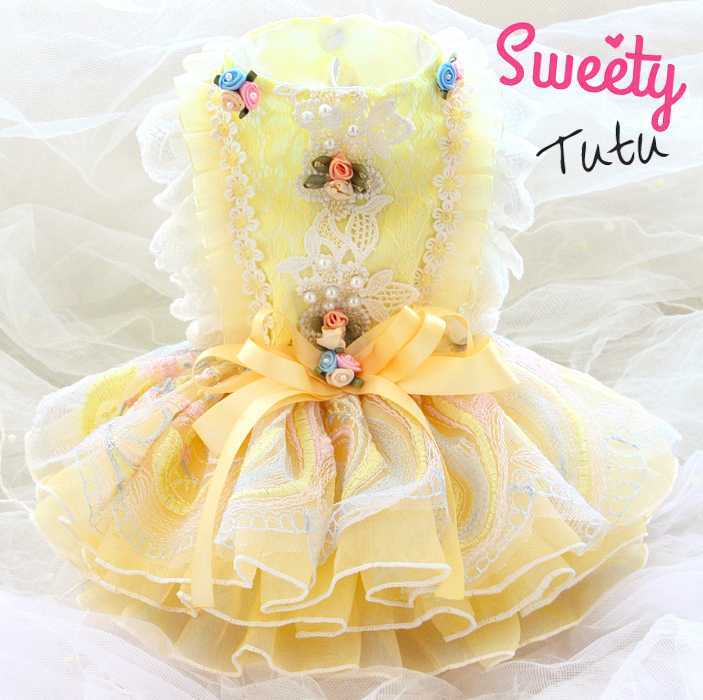 Free shipping dog clothes princess Belle fairy tale yellow gorgeous tutu fluffy dog dress ropa perro