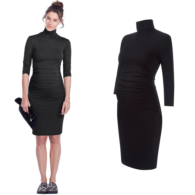 HI BLOOM Pregnancy Clothes for Pregnant Women Fashion Turtleneck Spring Wear Maternity Dresses Elegant Lady Office Vestidos