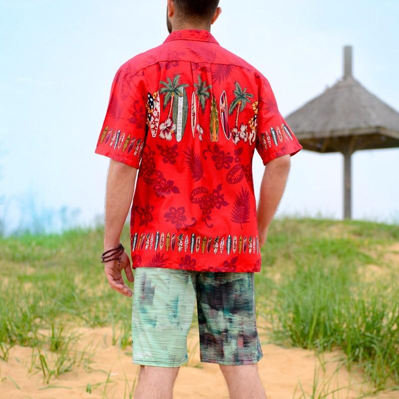 Erkek Hawaii Gömlek Marka Plaj Gömlek Palm Surfboard Fantezi Elbise - Erkek Giyim - Fotoğraf 4