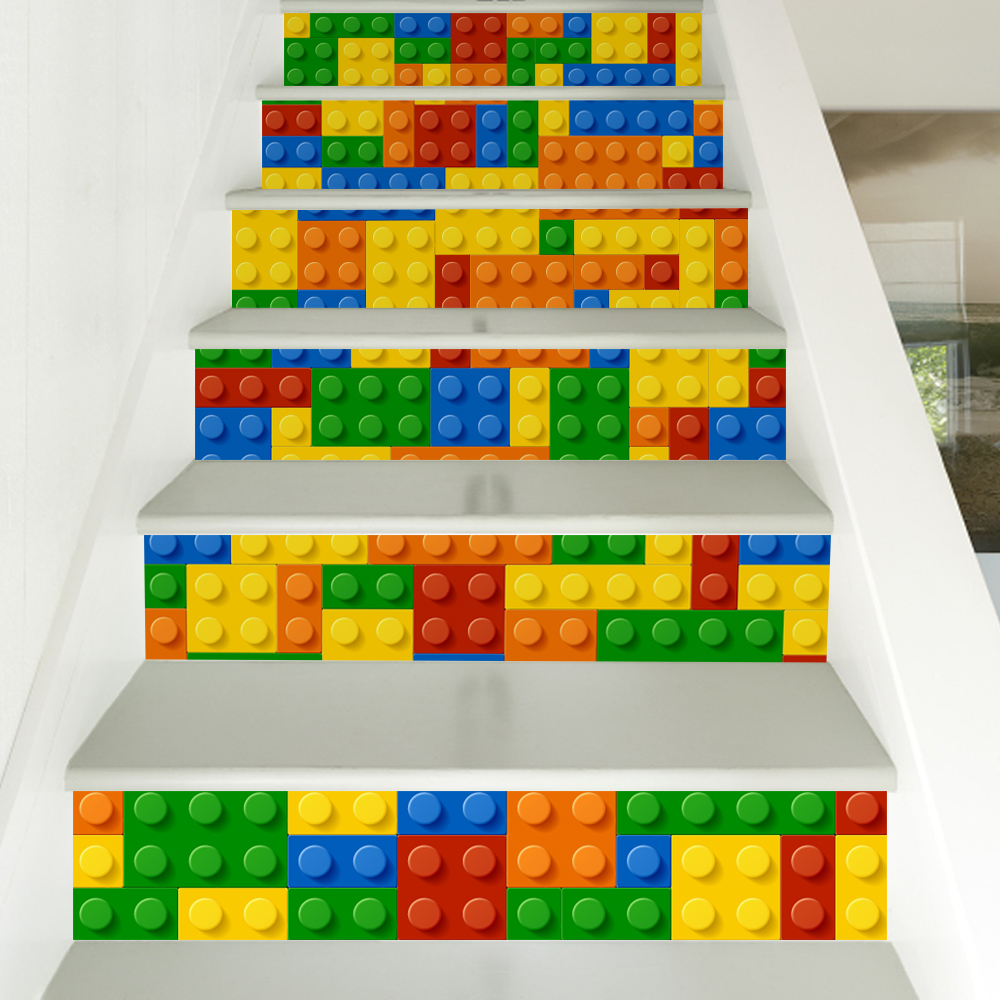 6 pieces set creative diy 3d stairway stickers lego blocks pattern for room stairs decoration. Black Bedroom Furniture Sets. Home Design Ideas