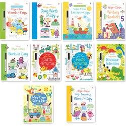 Crianças Wipe-Limpar Reutilizável Palavras Número de Inglês Livro de Exercícios com Caneta de escrita para Preschool Aprendizagem Precoce 21*27cm
