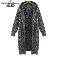 BINGYUANHAOXUAN Winter Woman Sweater Female Women's Cardigan Long Sweater Knitting Long Sleeve Solid Fashion Pocket Hooded