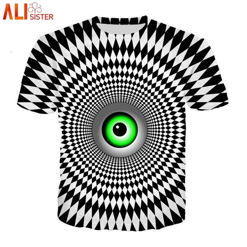 Alisister Vertigo Hypnotischen T Hemd Männer Frauen 3d Lustige Drucken O Neck Sommer T-shirts Unisxe Hip Hop Tees Tops Camisa masculina