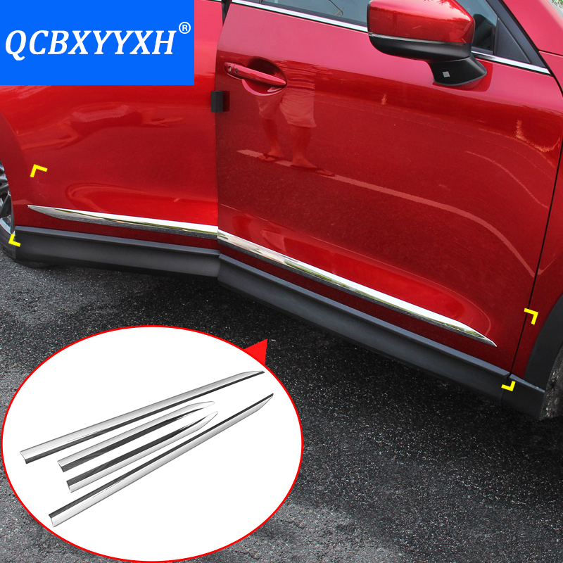 QCBXYYXH Car Styling For Mazda 2th CX-5 2017 2018 Car Chrome Molding Door Body Decoration Strips Stainless Steel Accessories