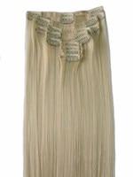 QQXCAIW Women Natrual Long Straight 12pcs Set 130g Blonde Black Brown Synthetic Hair Clip In Hair