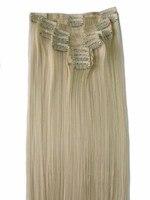QQXCAIW Kadınlar Natrual Uzun Düz 12 adet/takım 130g Sarışın Siyah Kahverengi Saç Uzantıları Postiş Sentetik Saç Klip