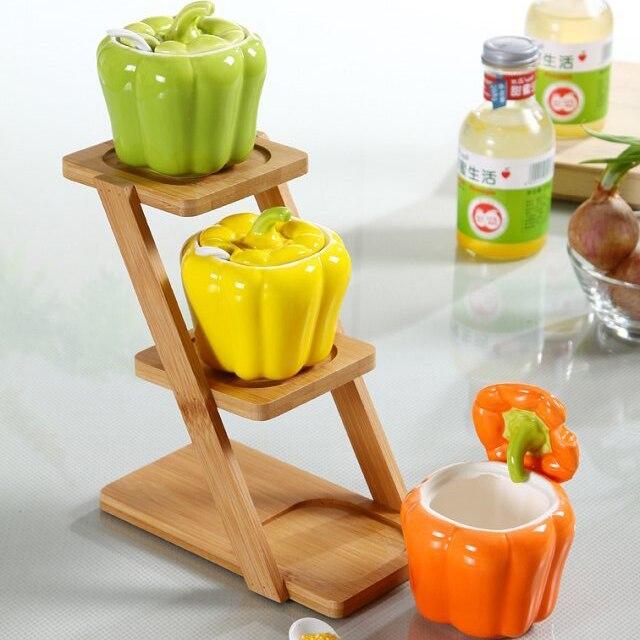 Ceramics pepper pattern seasoning box tank salt can cute vegetables Exterior oil tank kitchen utensils seasoning bottle