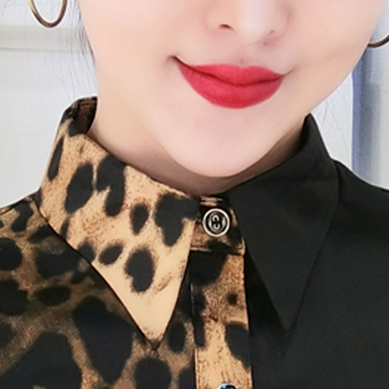 2019 New Vintage Women 39 s Shirt Spliced Leopard Blouse Spring autumn Long sleeve Slim Office Women 39 s Blouses Size 2XL in Blouses amp Shirts from Women 39 s Clothing