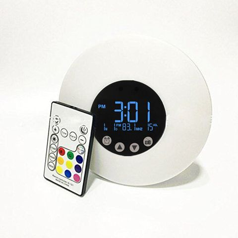 sunrise acordar luz colorida led relogio despertador radio fm simulacao digital display led night light