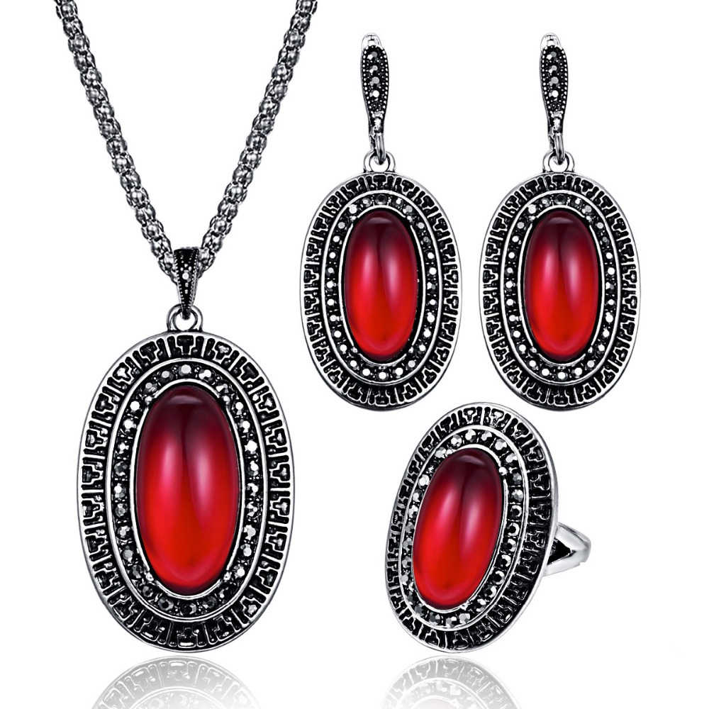 Vintage Indian Style Oval Large Resin Stone Necklace Earrings Jewelry Sets Antique Silver Pattern For Women Engagement Gifts20%