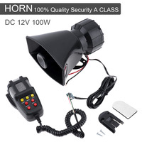 100W 7 Sound Car Electronic Warning Siren Motorcycle Alarm Firemen Ambulance Loudspeaker With MIC