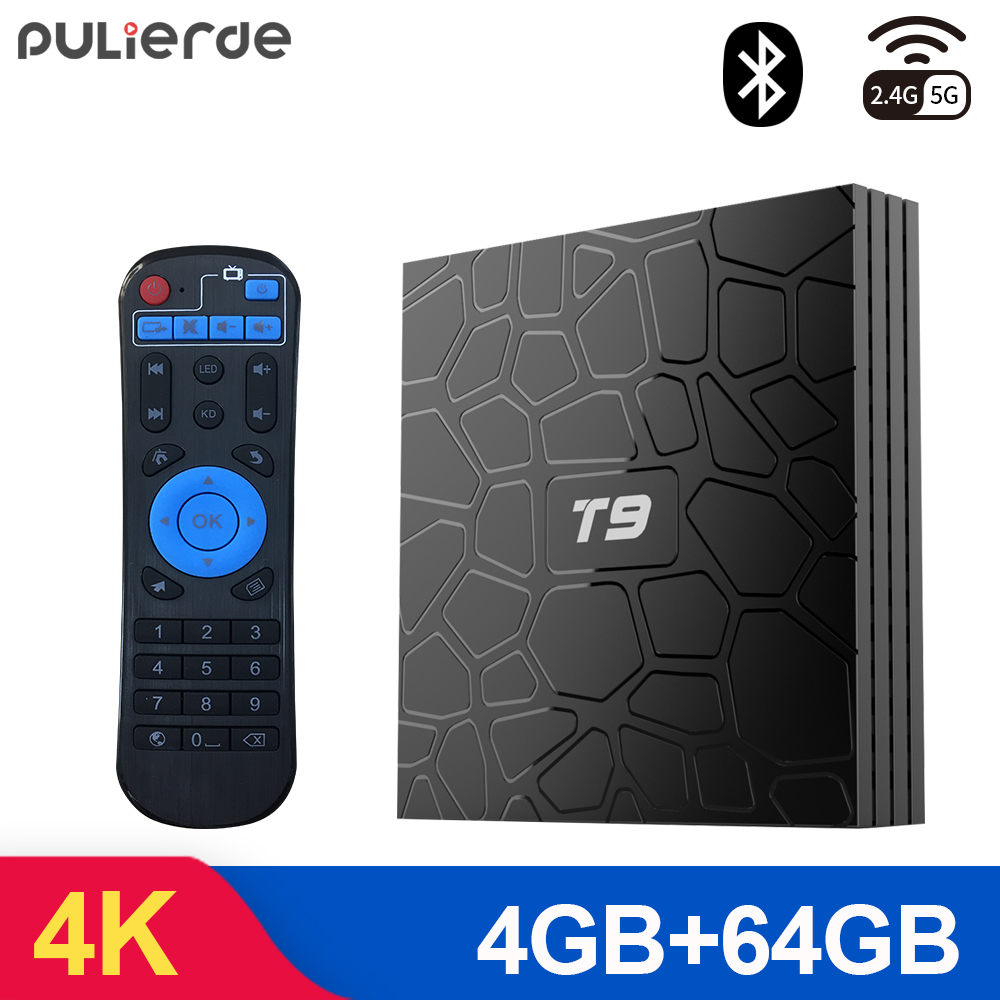 PULIERDE T9 4GB 64GB RK3328 Quad Core intelligent Android 8.1 TV BOX bluetooth 4.0 H2.65 4K 2.4 GHz/5 GHz WIFI décodeur lecteur multimédia