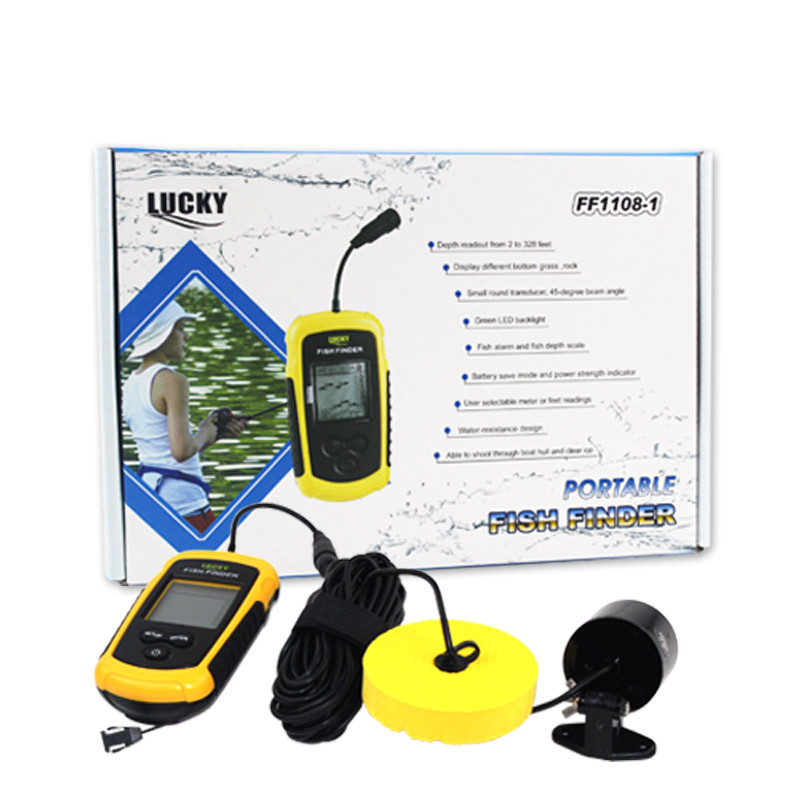 Top Quality with box Fish Finder Portable Sonar Wired LCD depth 0.7-100m fishing echo fishing depth sounder with English Display portable fish finder sonar sounder alarm transducer fishfinder 0 7 100m fishing echo sounder with battery with english display