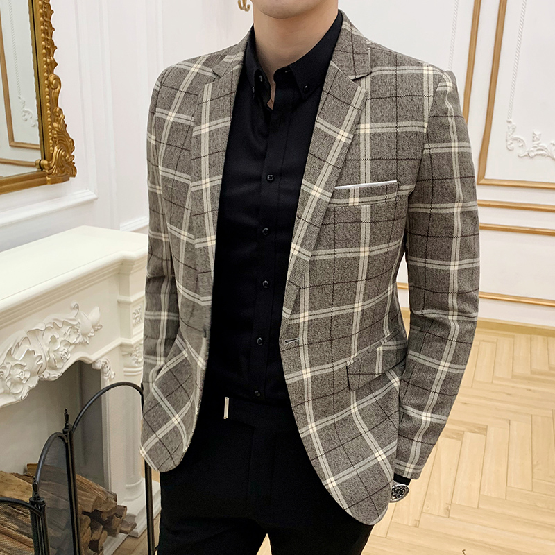 2019 Spring Classic Plaid Men's Blazer British Slim Business Casual Suit Jacket Fashion Men's Single Buckle Wedding Jacket M-3XL