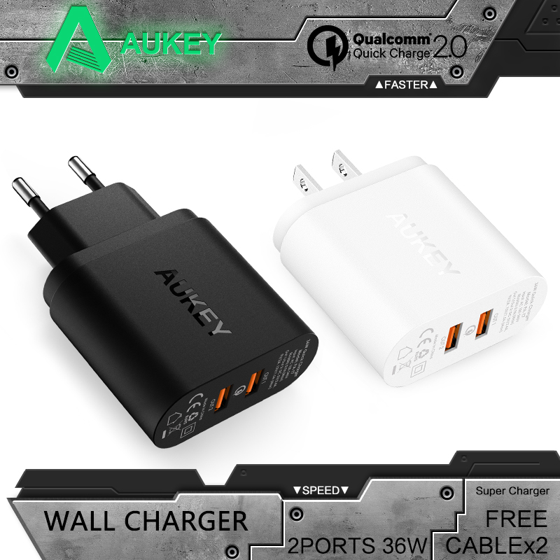 Цена за Aukey Быстрый Зарядное устройство QC 2.0 двумя портами 36 Вт USB Turbo стены Зарядное устройство адаптер для Samsung Galaxy S8 Sony HTC Xiaomi быстро Зарядное устройство
