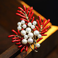 Fashion Jewelry Imitation red coral pins and brooches Pearl brooch for women