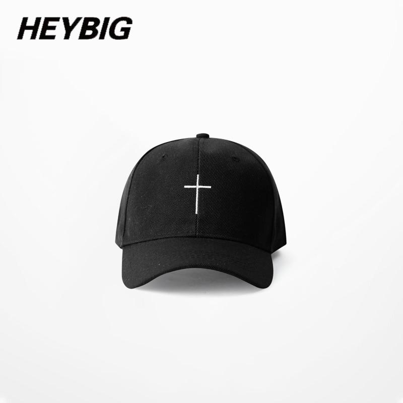 Prix pour Simple croix BRODERIE casquette de baseball 2017 HEYBIG hommes femmes D'été De Mode Papa caps plié visor HIP HOP streetwear