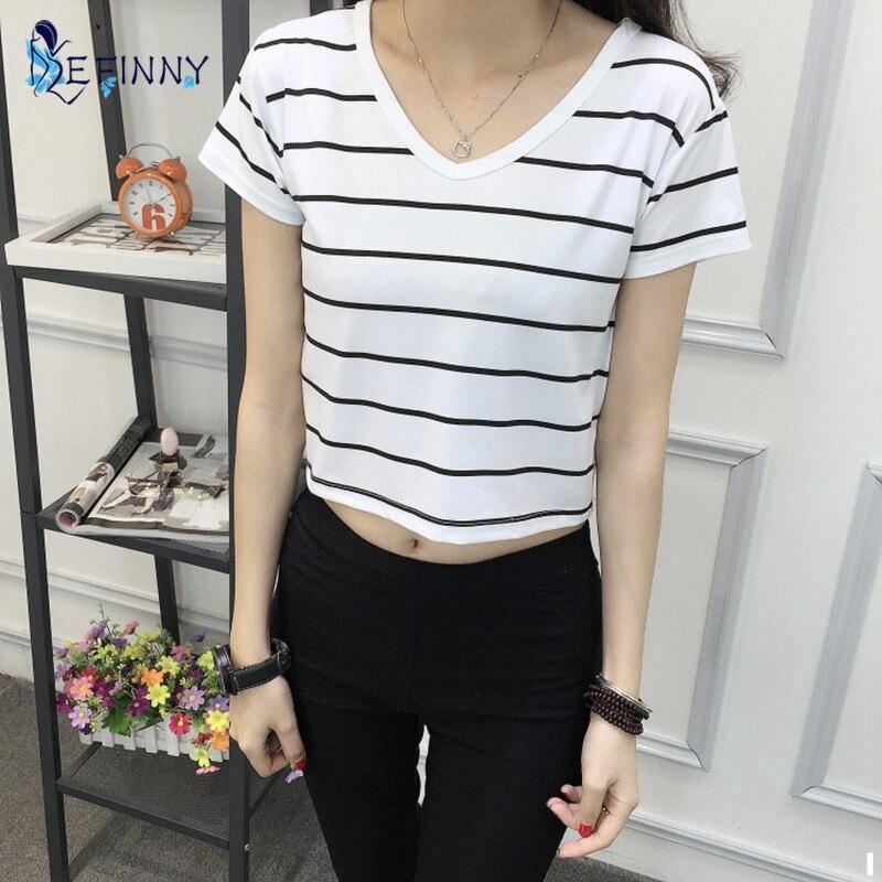 d958b0507 Verão Novo Cintura Alta Exposto Umbilical Mulheres Curto-de Mangas Compridas  T-shirt Das Senhoras Em Torno Do Pescoço Camisa Solta Coreano