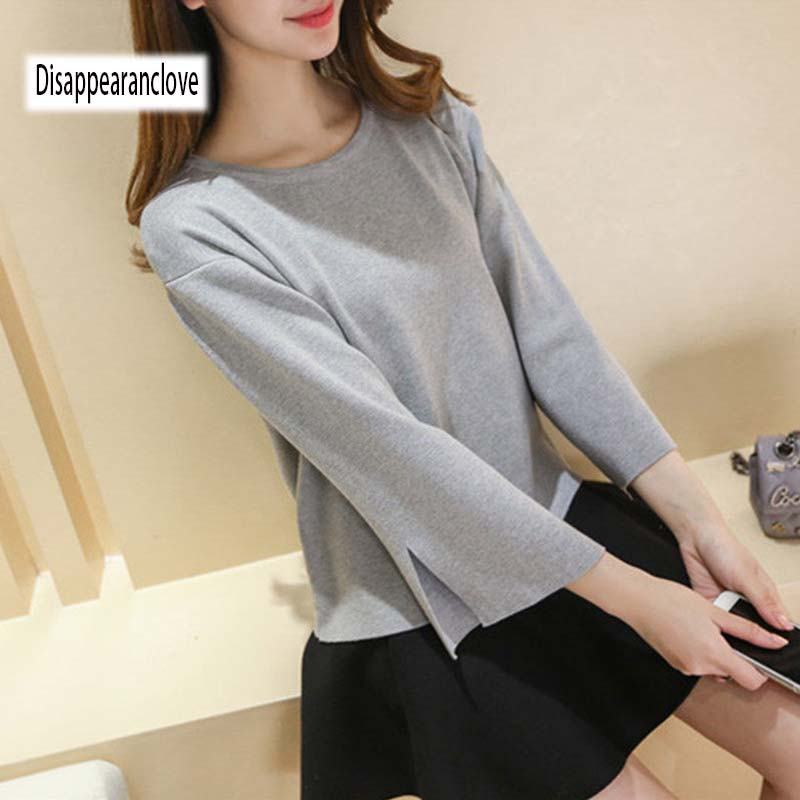 Sweater Women 2018 Winter Autumn Pullovers Christmas Sweaters Knit Open the long sleeve fork O-neck Short Female Sweaters