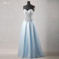 RSE756 Reale Abbildungen Yiaibridal Perlen Kristall Schatz Ausschnitt Sheer Korsett Light Blue Prom Kleider