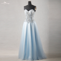 RSE756 Real Pictures Yiaibridal Beaded Crystal Sweetheart Neckline Sheer Corset Light Blue Prom Dresses
