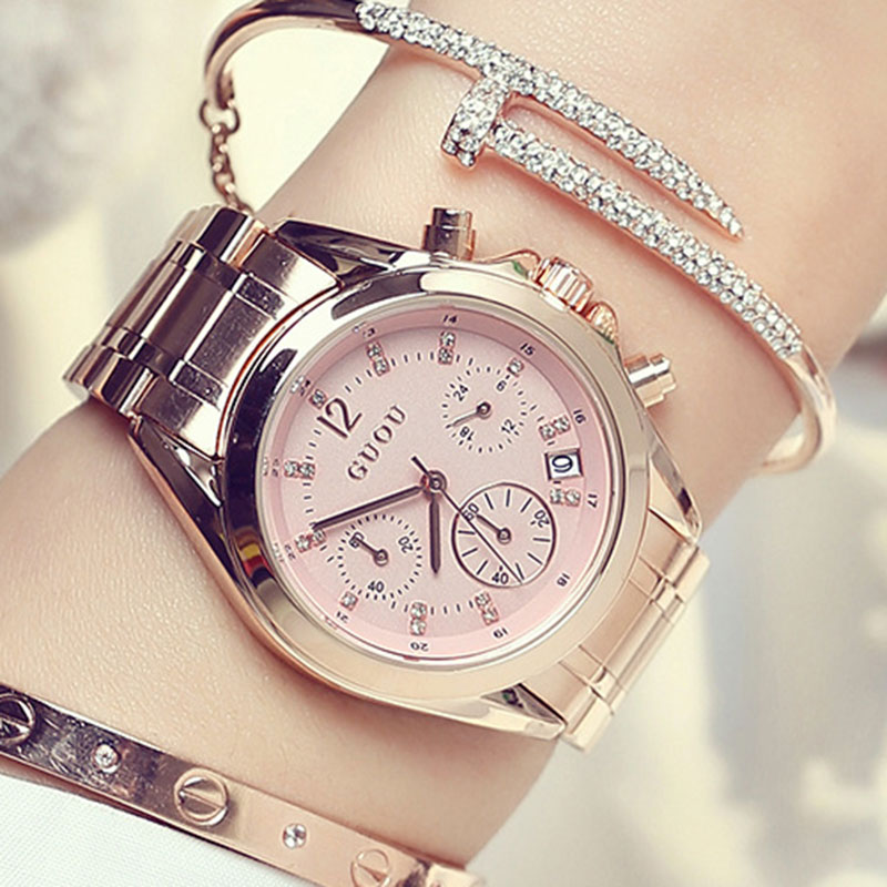 Top Luxury Rose Gold Women Watches Ladies Quartz Watch Women Casual Wrist Watch Female Famous Brand GUOU Clock relogio feminino fashion rose gold retro watches women top luxury brand ladies quartz watch famous watch new clock relogio feminino hodinky xfcs