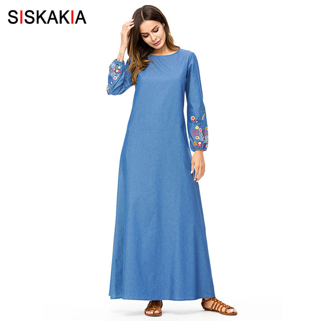 Siskakia Chic Floral Embroidery Denim Dress Maxi Ankle-Length Round Neck long sleeve Women Long Dress Muslim Autumn Fall 2018